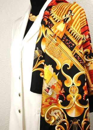 Роскошный шёлковый платок hermes orgauphone et autres mecaniques, francoise faconnet, 1996