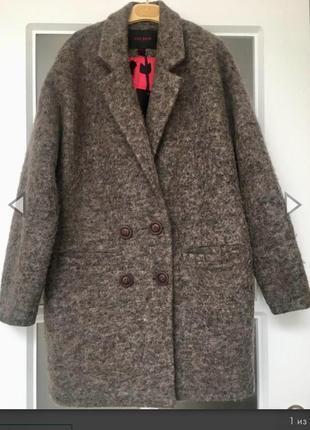 Трендовое шерстяное ворсистое пальто бойфренд