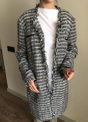 Твидовое пальто кардиган в стиле chanel  (20 размер)