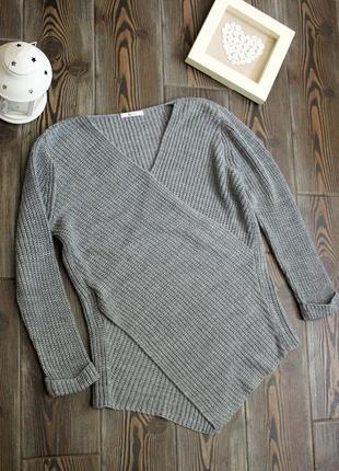 Вязанный свитер на запах с длинным рукавом