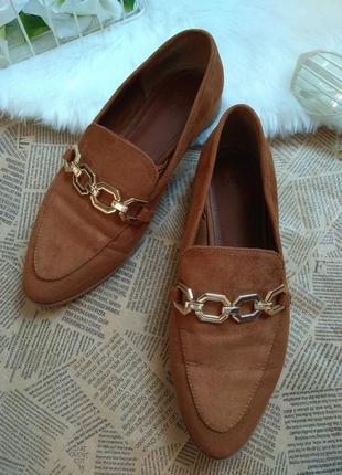 Туфли женские замшевые бежевый цвет от  h&m. лоферы женские