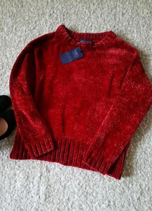 Велюровый плюшевый оверсайз свитер/джемпер супер цвет модель р.м от m&s