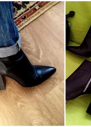Кожаные ботинки, ботильоны zara. осень - весна.