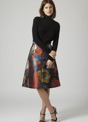 Шикарная жаккардовая юбка миди терракотового цвета topshop юбка-колокол ниже колен