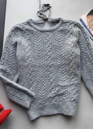 👚серый тёплый вязаный свитер в косу zara/свитер с узором/осенний свитер/зимний свитер👚