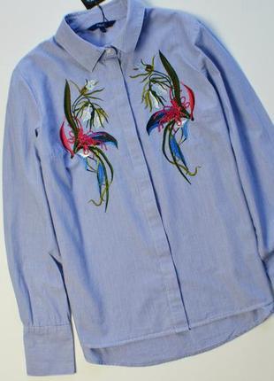 Стильная рубашка с цветочным узором вышивка next хлопок с длинным рукавом