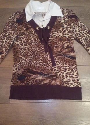 Кофточка рубашка с принтом тигровым