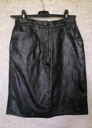 Крутая итальянская кожаная юбка карандаш.