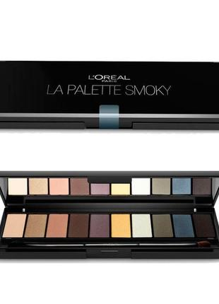 Палетка теней для век l'oréal paris color riche la palette smoky