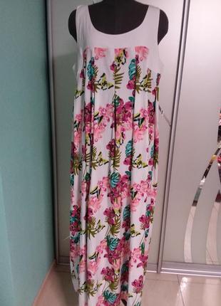 Очень красивое платье большого 20 размера в цветочный принт