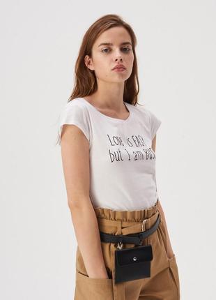 Новая белая футболка sinsay love is easy but i am busy любовь проста, но я занята xs l xl