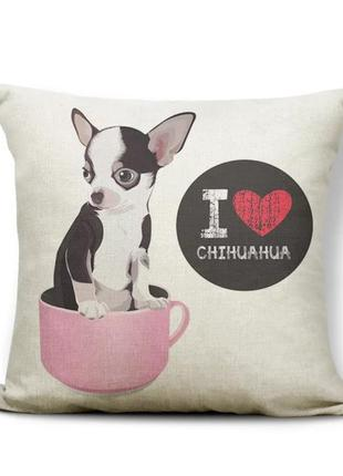 Декоративная бежевая наволочка собака порода чихуахуа chihuahua декор