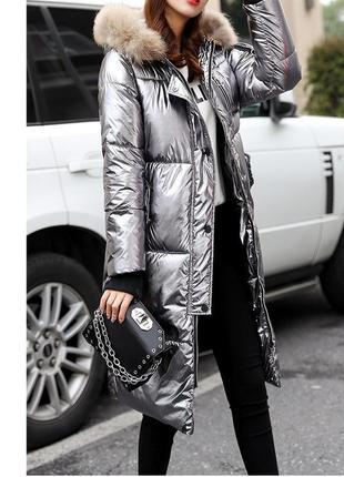 Зимнее пальто пуховик металлик лаковый оверсайз кокон натуральный мех размер l-xl