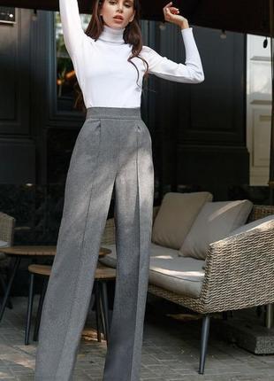 Шерстяные брюки-палаццо серый графит теплые