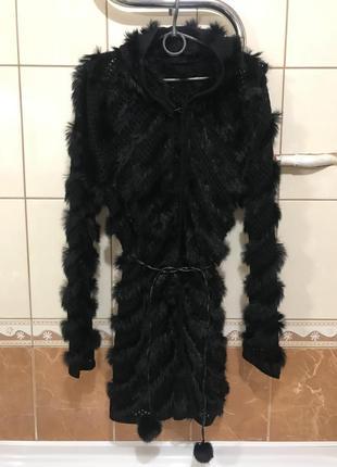 Кардиган накидка кофта пальто  с капюшоном  кролик норка