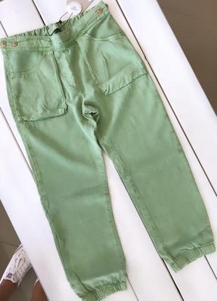 Zara зара брюки карго штаны фисташкового цвета 9, 13-14