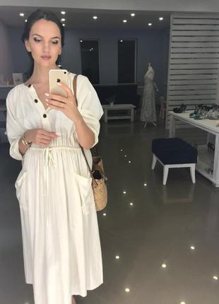 Платье белое мили с карманами зара zara