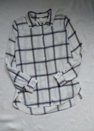 Хлопковая рубашка блузка з рукавом в клетку