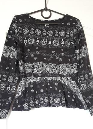 Блуза девочке с баской серая 146-152