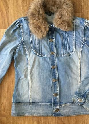 Джинсовый пиджак жакет куртка pescara с меховым воротником, р. l