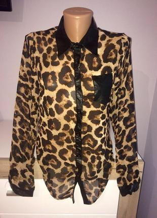 Леопардовая блузка с элементами кожзама