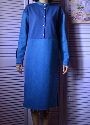 Удобное и стильное платье-рубашка миди из денима