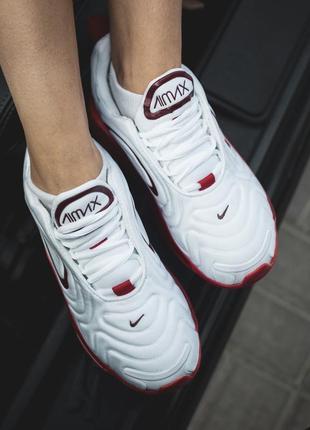 Шикарные женские кроссовки nike air max 720 white белые с красным3 фото
