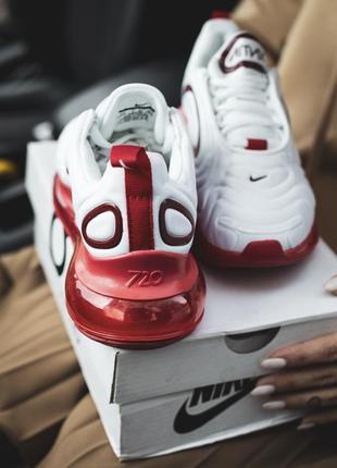 Шикарные женские кроссовки nike air max 720 white белые с красным5 фото