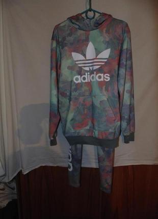 Женский спортивный костюм худи с леггинсами лосинами  adidas оригинал