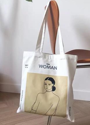 Новая эко сумка с красивым принтом девушки