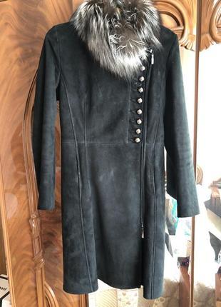 Дубленка пальто с чернобуркой