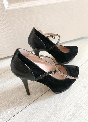 Туфли на каблуке, черные туфли, туфли замшевые
