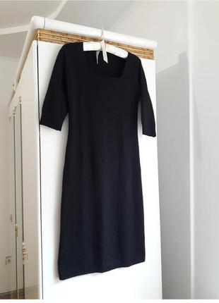46\12 трикотажное шерстяное закрытое миди платье по фигуре с квадратным вырезом