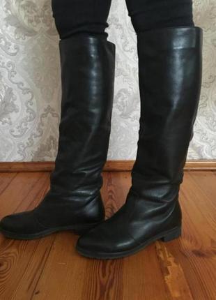 Ботфорты до колен чёрные сапоги ботинки трубы деми на флисе