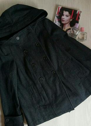 Шерстяное пальто zara basic