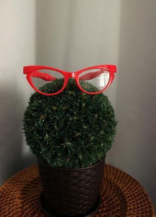 Стильные красные очки кошачий глаз для чтения +1.50