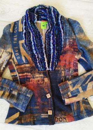 Дизайнерский эксклюзивный пиджак жакет из шерсти, 46р., стиль бохо, винтаж. италия