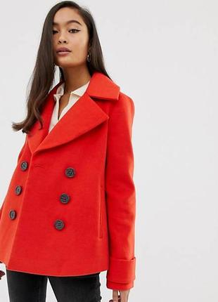 Красное демисезонное пальто полупальто с карманами marks & spencer шерсть new wool этикетк