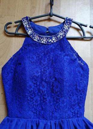 Акция 🌹синее платье с камня и пайетками, р с - м