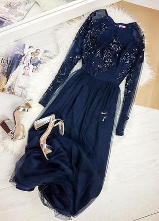 Вечернее / свадебное синее платье макси chi chi london