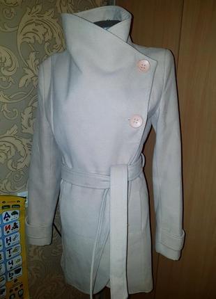 Шерстяное пальто италия rinascimento бежевое с поясом