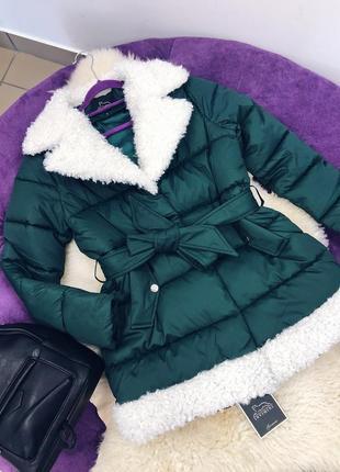 Стильная зимняя куртка пуховик на холлофайбере скидка
