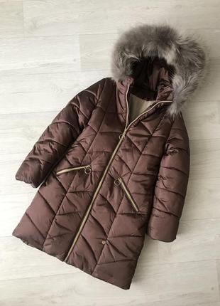 Тёплое зимнее пальто для девочек, с натуральным мехом