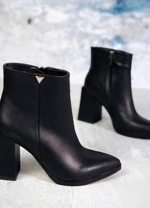 Рр 36-40 осень(зима) натуральная кожа стильные черные ботильоны с интересным каблуком