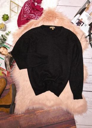 Кашемировый мягусенький насыщенно чёрный тёплый свитер