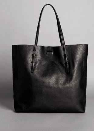 Объемная черная кожаная сумка шоппер большая сумка