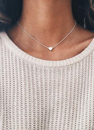 Цепочка цепь колье метал под серебро с кулоном седцце сердечко