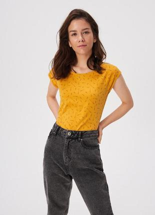 Новая желтая футболка темно-желтая sinsay принт карандаш надпись i love я люблю xs s
