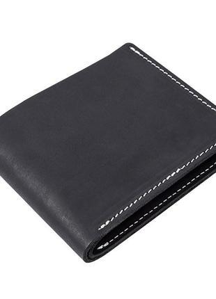 Черный кошелек из плотной кожи