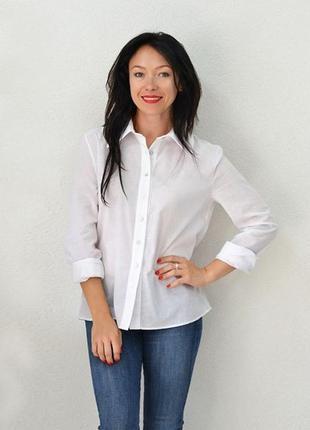 Рубашка прямая без выточек, длинным рукавом, белая